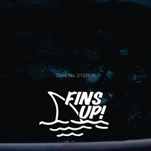 Fins Up! die cut vinyl car stickers decal for windows, cars, trucks, tool boxes, laptops, MacBook 6''wide  white