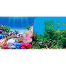 9099 15 Meters/Roll Double Sided Aquarium Decoration Colorful Plant/Green Grass Fish Tank Background Picture Poster Wall Decor