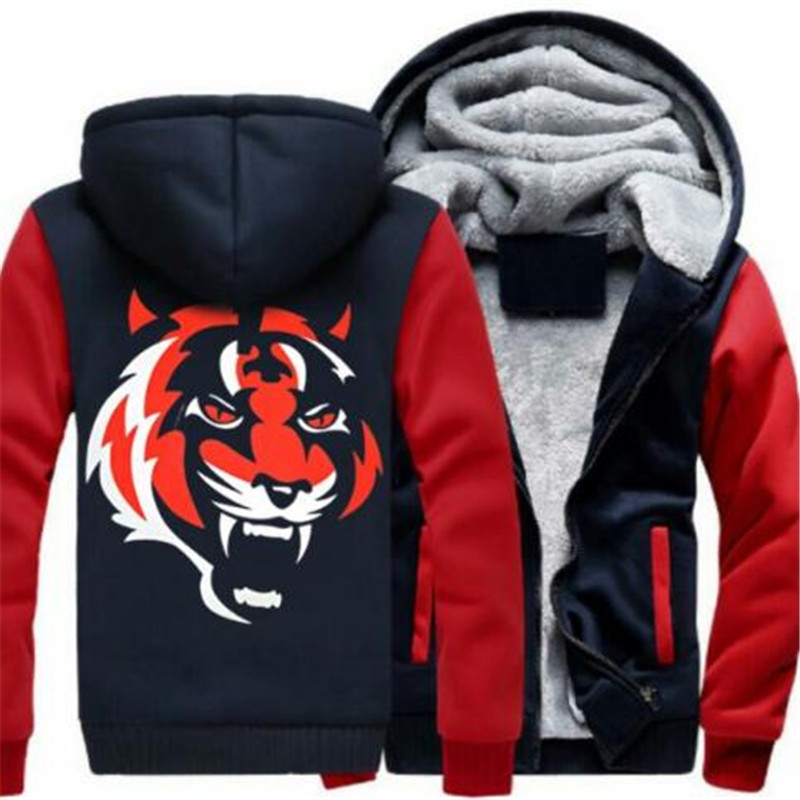 Violent Tiger Head 3D Printed Hat-shirt New Fashion Street Dress Punk-style Men's Hat-shirt Coat in Winter 2019