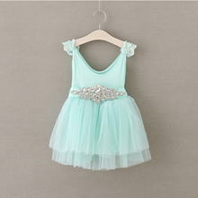 toddler girls mint tutu crystal sash dress  baby girl tulle dress with lace pearl decoration  ZJH000