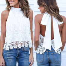 Buy Blusa Femininas 2018 Summer Women Sexy Lace Crochet Blouse Casual Tassel Bow Backless White Shirts Sleeveless Halter Tops S-5XL