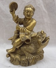 China Brass Wealth Coin Sculpture Kid Child LiHai Ride Gilt Hoptoad Toad Statue(China)