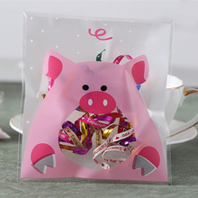 100pcs 10x10+3cm Pink Pig Bakery Cookie Candy Sweet Biscuit Gift Soap OPP Plastic Bag kids Birthday Baby Shower Decorations