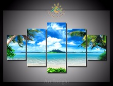 5 Pieces/set Wall Art Beach Palm Tree For Wall Decor Home Decoration Picture Paint on Canvas Prints Painting for Living Room