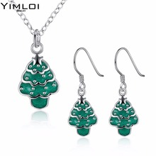 Christmas theme Christmas tree Necklace eardrop set auger 2 suit accessories wholesaler 922(China)
