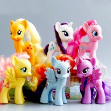 6pcs/lot Twilight Sparkle Rainbow Dash Apple Jack Fluttershy Rarity Kunai Horse Unicorn Action Toys figure model toy Gift(China)