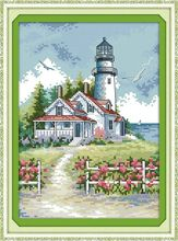 Needlework,DIY DMC Lighthouse (2) Cross stitch, Europe Style Pattern Innovation Items ,Wall Home Decro Hand Made Embroidery kits