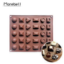 Marebell Silicone Chocolate Mold Non-stick Ball Block Heart Shaped DIY Chocolate Jelly Pudding Mold Bakeware Baking Tools(China)