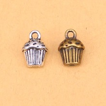 12pcs Wholesale Silver/Bronze 3D cupcake cake Bracelet Charms Pendants for Jewelry Making Accessories 13*10*8mm