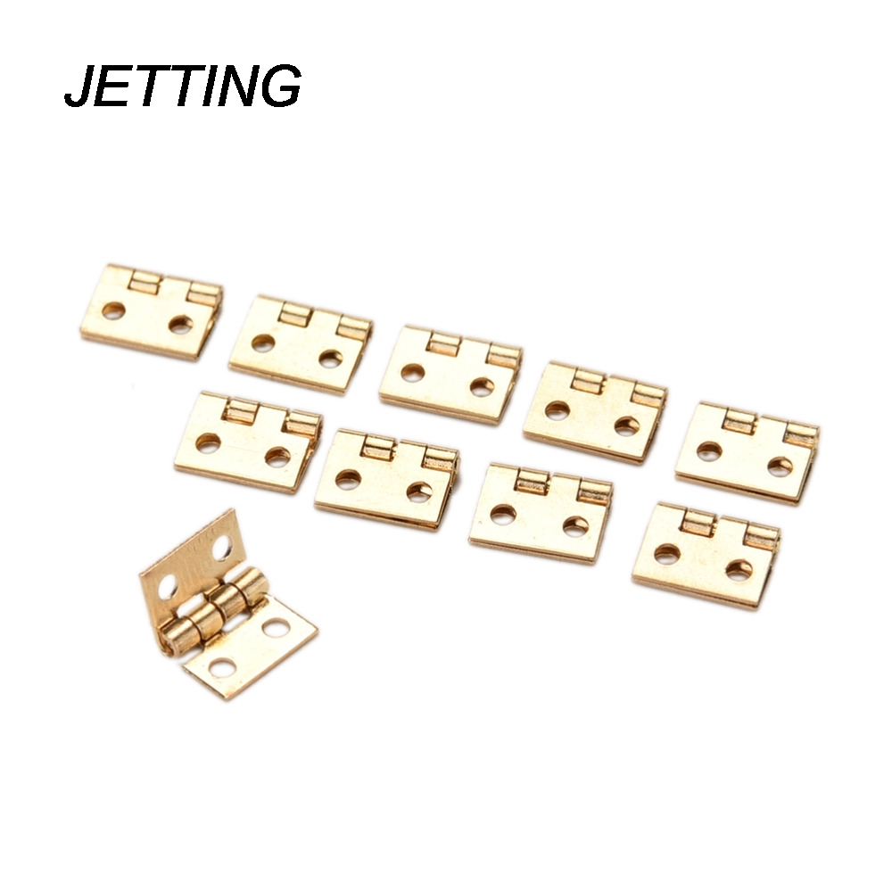 JETTING 10Pcs Brass Plated Mini Hinge Small Decorative Jewelry Wooden Box Cabinet Door Hinges with Nails Furniture Accessories(China (Mainland))