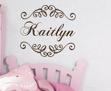 High Quality Personalized Name Decals Lace Frame Vinyl Wall Stickers Girls Bedroom Kids Nursery Home Self Decor Art Mural SYY278(China)