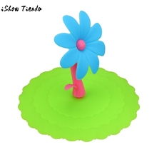 Super cute bow shape clean sanitary Sunflower Lace Dust Reusable Silicone Cover Cup DIY Free Splicing Thermal Insulation Cover(China)