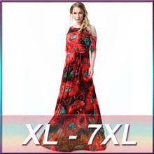 Fashionable Elegant Super Large Size Women Dresses Casual Clothing 5XL 6XL 7XL Plus Size Women V-neck Fat MM Floor-Length Dress(China)