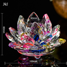JQJ 100 mm Crystal Glass Lotus Flower Figurines Ornaments Christmas Home Table Decoration Crafts Wedding Party Buddhist supplies