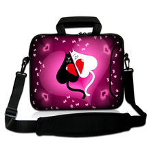 "Neoprene Netbook Handle Messenger Pouch10""13""14""15""17"" Cartoon Lovely Cats Type Laptop Shoulder Carring Sash Case Bag For Lenovo(China)"