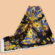"Huajun || Black scarf with color matching brand ""Butterfly flower"" 90 silk scarf 100% mulberry silk twill scarf printing shawl"