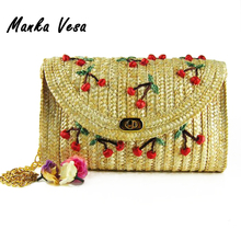 Manka Vesa 2016 Summer New Cherry Banana Straw Messenger Bags Woven Day Clutch Flap Bag Beach Package Crossbody Chain Bags