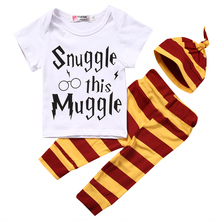2017 New Summer Clothing Sets Snuggle this Muggle Baby Boys Girls Clothes Pants Hat Outfit Set Clothes US Stock