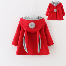 2017 Autumn Winter Girl Coat Baby Girls Bunny Ears Jacket Girl's Clothes Girls Outerwear And Overcoat Gifts for Children JJ0021(China)