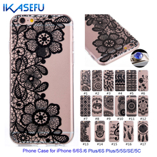 FDM New Cheap Black Floral Phone Case for iPhone 6 6S 6 S6 Plus 5 5S 5SE 5C Transparent Ultra-thin Back Cover add Dust Plug