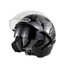 Black White Double Lens Sun Visor Open Face Motorcycle Helmet Motorbike Capacetes Moto Casco Street Riding Helmets(China)