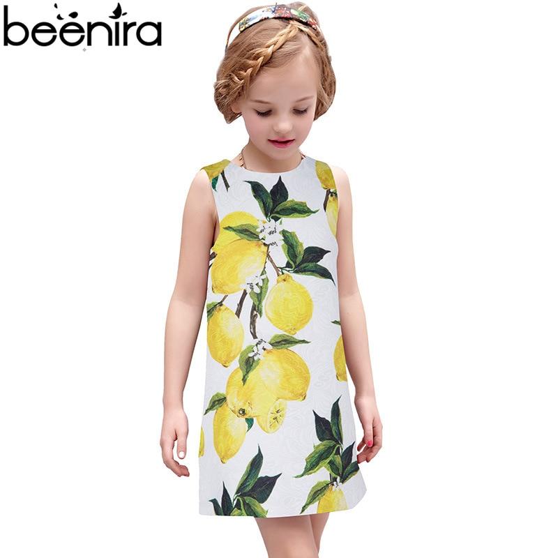 BEENIRA Girls Dress Kids Princess Dresses Children Lemon 3D Print Vest Clothing for Party All Seasons Match High Quality<br>
