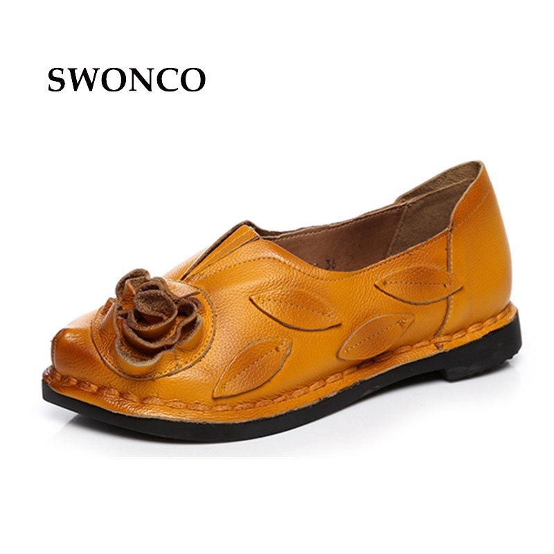 SWONCO Womens Flats Female Shoe Genuine Leather Slip On Handmade Loafers Sweet Female Shoes Fashion High Quality Women Shoes<br>