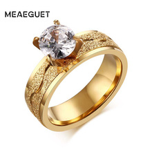 Meaeguet Trendy Bijoux Women Engagement Rings Stainless Steel 4-Prong Cubic Zirconia Wedding Bands Ring Lover Gift(China)