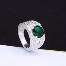 2016 spring gift ring for lady paved green crystal new cheap luxury Princess Cut Wedding Engagement Ring vintage design