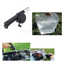 Outdoor Camping Portable Hand Crank Powered Barbecue BBQ Fan Air Blower Fire Bellow & 10L Drinking Water Bag Storage Container