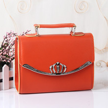 PU Women Shoulder Bag Shell Bag Handbag Clamshell Crown Crossboday Messenger Candy Color Orange