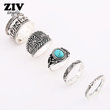 5PCS Vintage Bohemian Retro Influx Of People Creative Fashion Ring Elephant  Set RingS Finger Bagues  Charm Anelli