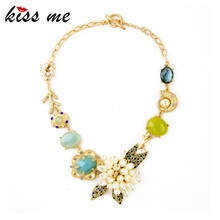 KISS ME New Design KISS ME Fashion Jewelry  Graceful Imitation pearls flower Pendant Necklace