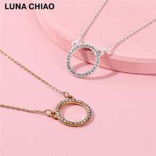 Worn Gold Silver Pave Crystal Mini Circle Pendant Delicate chain Short Necklace(China)