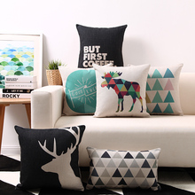 Free shipping geometric triangles elk deer stag elephant  LOVE arrows good luck anchor piano keys cushion cover sofa pillow case