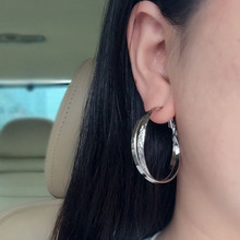 Non pierced ear clip female beauty special double flashing ear ring Korean fashion style big circle clip-on earrings