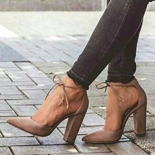 Fashion Sexy Women Pumps Thick High Heels Shoe PU Pointed Toe Party Shoes Ankle Strap Spring Autumn #236523