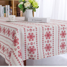 Christmas Tablecloth snowflake printed cotton linen Table Cloth Dust Covers home hotel party  Decoration Supplies product red