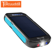 Tollcuudda 10000mah Waterproof Solar Power Bank 2 USB Portable mi Phone Poverbank Bateria external pack with 3 LED light outdoor