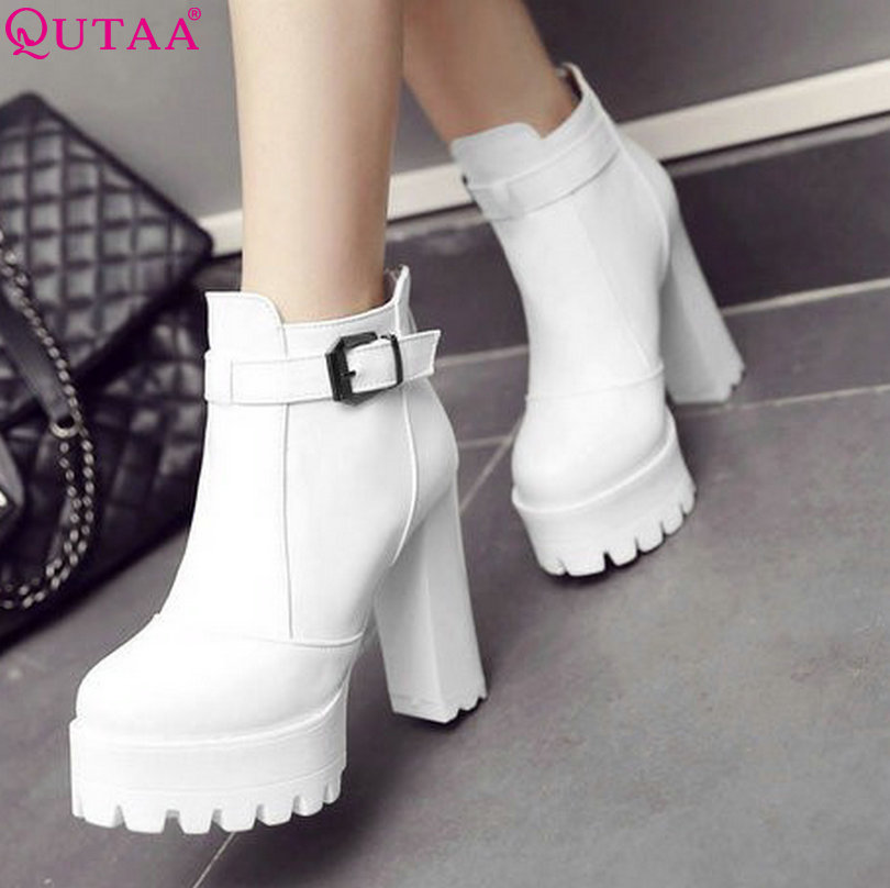 QUTAA White 2017 Fashion PU Leather Women Shoes Square High Heel Ankle Boots Buckle Women Motorcycle Boot Size 34-43<br><br>Aliexpress