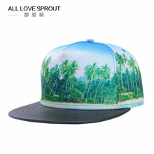 2017 spring and summer high-definition 3D thermal transfer coconut palm digital men  baseball hat PU leather stitching  ALL-02