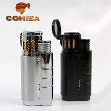 COHIBA three straight metal lighters triple jet flam torch Cigar lighter Accessories manufacturers with cigar punch