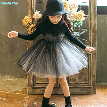 2017 new autumn/winter collection of children's dress girl's long sleeve and velvet matching dress girl's sweater dress(China)