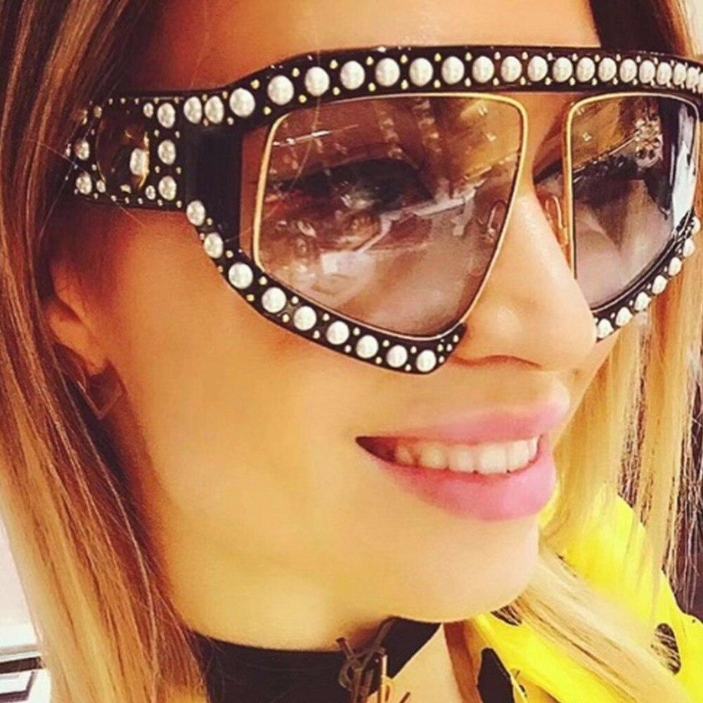 Compre Marca De Luxo Quadrado De Diamante Pérola Quadro Óculos De ... b42fd9a02b