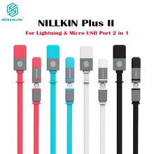 NILLKIN Plus II 2 IN 1 USB Quick Charge Cable Noddle Data Line For Lightning & Micro USB Port Devices For iPhone5 iphone6 iPad