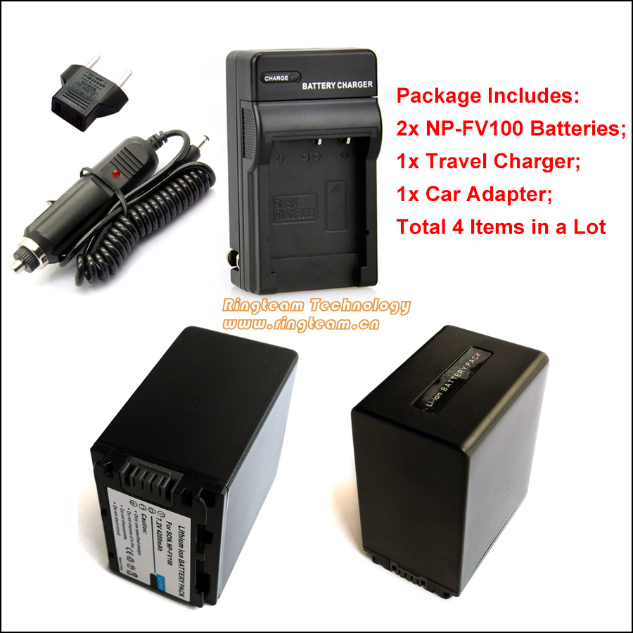 2x NPFV100 NP-FV100 Battery and 1x Travel Charger (4-in-1) and 1x Car Adapter for Sony DCR HDR HXR &amp; Handycam Camera Camcorders<br><br>Aliexpress