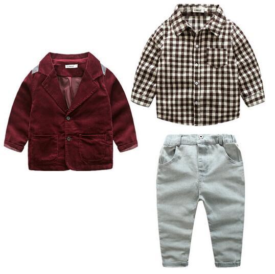 Boys Gentlemen Suits 2017 Autumn Blazer Coats+Plaid Shirt+Pants Children Preppy Style Outfits 2PCS Set Suits Kids Formal Wear  <br>