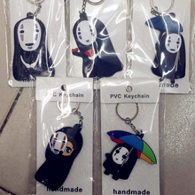 Miyazaki Hayao cosplay keychain No Face Haku Spirited Away Key chain Double sided PVC keyrings small gift bag pendants(China)