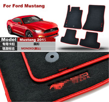 Savanini Brand New 4pcs Premium Solid Black Nylon Car Floor Mats Carpet Exactly Fit For Ford Mustang 2015(China)
