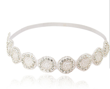Metting Joura Women Girls Bohemian White Crystal Rhinestone Flower Bride Bridal Wedding Elastic Headband Hair Accessories